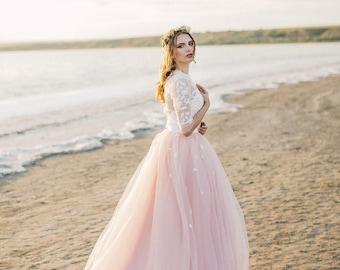 Blush wedding dress etsy blush wedding dress powder wedding dress two piece wedding dress junglespirit Choice Image