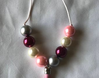 Adjustable Chunky pearl bead necklace with tassel