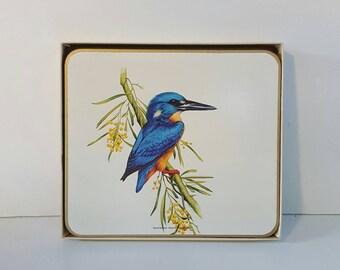 VINTAGE AUSTRALIAN Birds 'Jason' Placemats (×6) Gold trimmed Cork back Native Australiana in Box