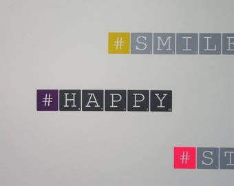 "Wall decal ""#HAPPY"" gray and purple - Medium - Scrabble letters"