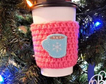 Hot Cocoa Cup Sleeve, Crochet Cup Cozy, Coffee Cozy, Christmas Gift, Coffee Cup Sleeve, Coffee Accessories, Stocking Stuffer, Hot Chocolate