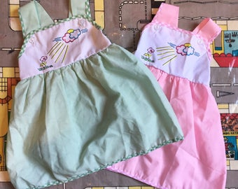 Vintage 1980s Deadstock Green/Pink Cotton Mix Baby Summer Smock Pinafore Dress 6-12m