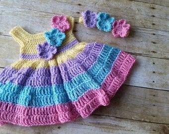Baby Dress and Headband, Spring Baby Girl Dress, Pink Baby Dress, Dress and Headband Set, Infant Crochet Dress, 0-3 Months Baby Dress Yellow