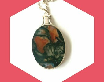 A Large Double-Sided Moss Agate Pendant and Sterling Silver Chain Hallmarked