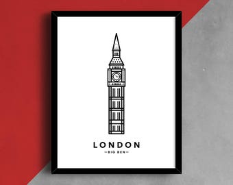 Big Ben Print, London Printable Art, City Name Print, London Icon, Printable Art, Building Art, Minimalist Art, Black and White Print