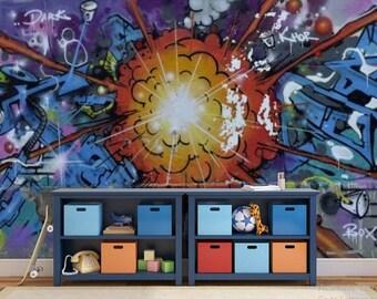 GRAFFITI wall MURAL, graffiti wallpaper, peel and stick, self-adhesive vinly, graffiti wall decal, grafitti wall mural, graffiti, grafitti