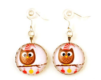 Earrings - cabochon - winter OWL