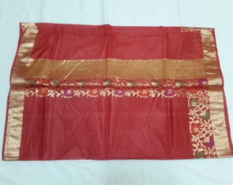 Handwoven pure kosa silk saree in red and gold colors : Free Shipping in US