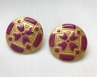 1980s Pink & Gold statement earrings