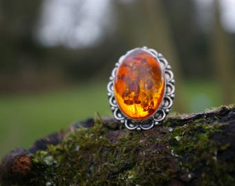 Stunning Baltic amber and 925 sterling silver ring size 8.25 US 58
