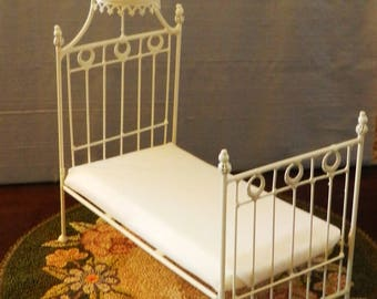 "Dollhouse Miniature Wrought Iron Bed ""ANTOINETTE"" 1:12 Scale Twin and Full, Half Scale, Artisan Made"