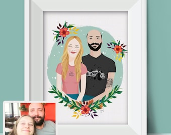 Couple Portrait Illustration, Custom Drawing, Custom Portrait, Couple Drawing, Custom Illustration, Custom Art, Personalized Drawing Gift