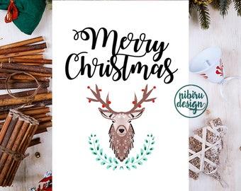 Merry Christmas Wall Art, Christmas Decoration, Deer Decor, Christmas Art, Deer Christmas Card, Typography Christmas Print, Instant Download