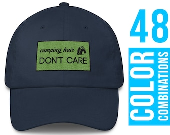 Camping Hair Don't Care Hat Camping Hair Embroidery Camping Hair Don't Care Girls Camping Hair Don't Care Cap Camping Hair Hat Baseball Hat