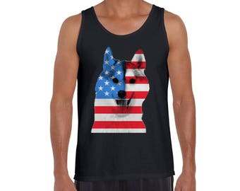 USA Flag American Husky Tank Tops Tank Top Independence Day Dog Lover Gift 4th of July