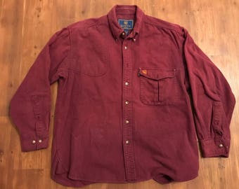 Vintage Beretta Button down shirt longsleeve 100% Wool Outdoors apparel burgundy red Size large hunting shirt 1990's