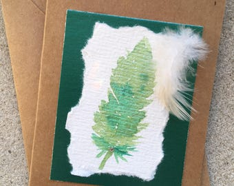 Watercolour feather card.