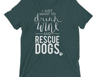 Wine & Rescue Dogs Short Sleeve tee