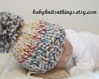 READY, Pom Pom Baby Hat, Baby Stocking Cap, Knit Baby Hat Multi Color, Newborn Pom Hat, BOY Photo Prop, Pregancy Announcement, Knit Baby