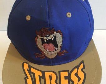 Vtg Looney Tunes Taz Stress Mens Snapback Adjustable Blue
