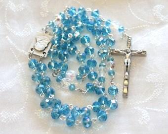 Carribean Blue Crystal Pope John Paul Rosary