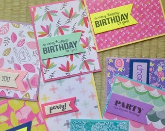 handmade birthday cards, 8 pack assorted, thank you card, all orders ship free