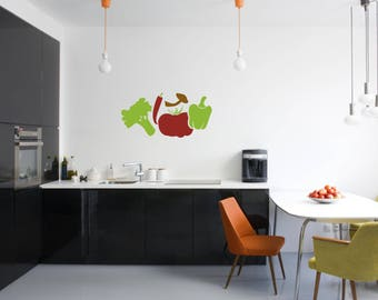 Vegetables Multi-Colored Kitchen Vinyl Wall Quote