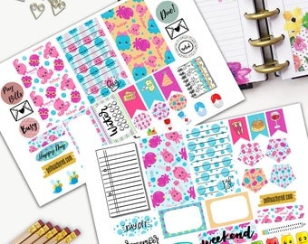 Octopi Theme Planner Weekly Sticker SMALL Kit, CLASSIC Happy Planner Sticker, Weekly Set, Stickers, Printed, Cut, Marine Life, Octopus