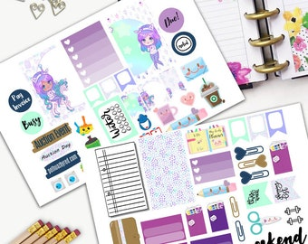 Rainbow Hair Kawaii Theme Planner Weekly Sticker SMALL Kit, CLASSIC Happy Planner Sticker, Weekly Set, Stickers, Printed, Cut, Bamboo, Girl