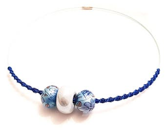 women's choker necklace pearls and braiding blue cycladed tones