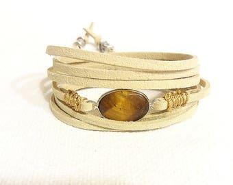 eye of tiger beige suede wrap bracelet