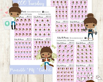 Two Dollar Tuesday Functional Girls1 Dark Printable Planner Stickers/Weekly Kit/For Use with Erin Condren/Cutfiles Fall September Glam