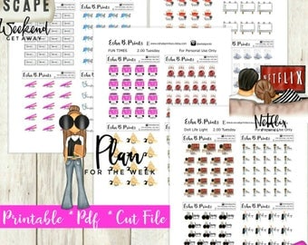 Two Dollar Tuesday Glam Essentials Set 2 Printable Planner Stickers/For Use with Erin Condren/Weekly Kit Cutfile Fall September work out