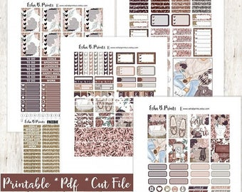 Cozy 'N' Chic LIGHT Printable Planner Stickers/For Use with Erin Condren/Cut File/Fall August Glam Sweater Weather Candle Me Time Relax TN