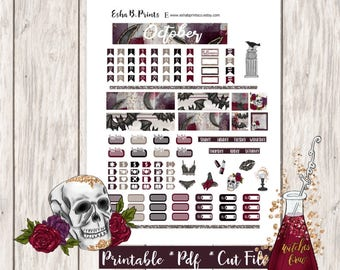 Wicked Affair Printable Planner Stickers/Pocket Travelers Notebook/Monthly Kit/Annie Plans Printable/Fall October Glam Halloween