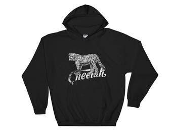 Cheetah Hooded Sweatshirt Spirit Animal Wild Cat Hoodie