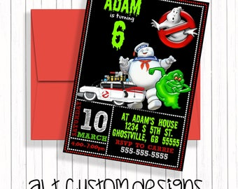 Ghostbuster invitations - printable - ghostbusters birthday invitations- ghostbusters birthday - ghostbusters party invites