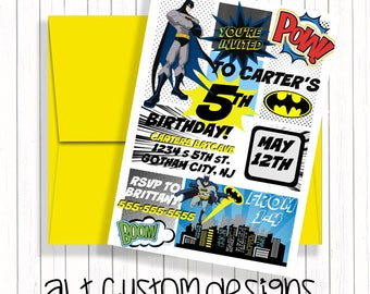 Batman invitation - printable - batman birthday invitation - batman birthday party