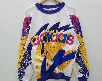RARE!! Vintage Adidas Multicolour Style Sweatshirts Pullover Big Logo Style Jumper Nice Design