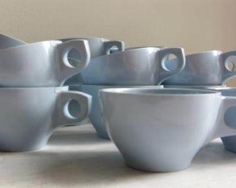 Vintage melmac teacups set, Melamine pale blue coffee cups, Boonton teacups / coffee cups, Vintage Boontownware Melamine , Camping cups