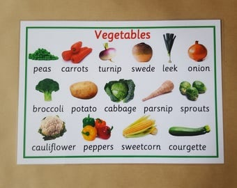 Vegetables Poster,Laminated A4 Poster, Early Learning, healthy eating, Teaching Resource, Educational Resource, Learning, home schooling