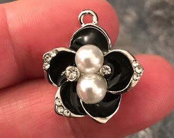 2 beautiful black enamel, pearl and rhinestone flower charms - jewelry making - bracelets - necklace - earrings - silver tone