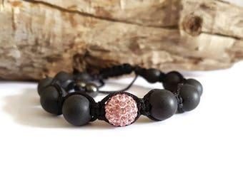 Pink Pearl and black shamballa bracelet