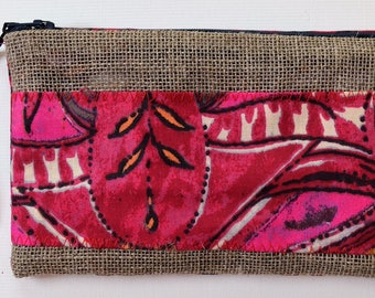 Makeup bag, burlap canvas, dominant pink