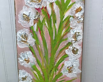 """Flower Painting on 16""""x8"""" Canvas"""