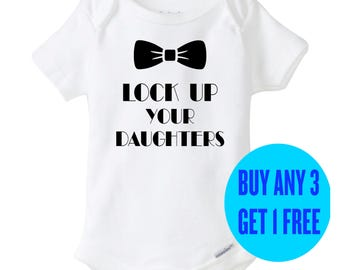 Funny Baby Boy Onesie Lock Up Your Daughters Bodysuit Romper