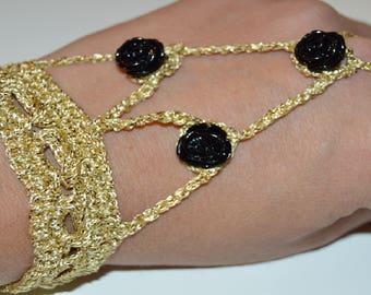 Handmade crochet ring bracelet gold