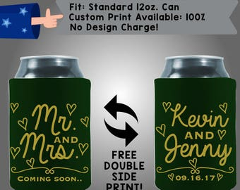 Mr and Mrs Coming Soon Names Date Collapsible Fabric Wedding Cooler Double Side Print (W374)