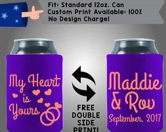 My Heart is Yours! Names Wedding Date Collapsible Fabric Wedding Cooler Double Side Print (W355) 100% Custom