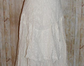 Size 14 vintage 80s extreme flare midi skirt broderie anglaise/lace white (HJ44)